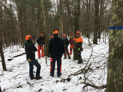 forestry class out in the woods in the winter