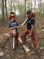 people with forestry equipment