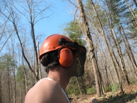 helmet and hearing protection on